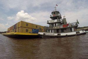 A MercoNorte Transportes opera o transporte de cargas em balsas no eixo Porto Velho x Manaus x Belém